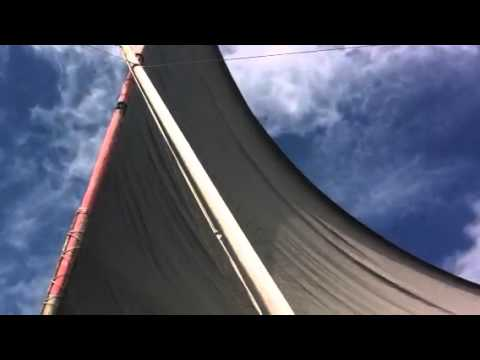 Sailing canoe in Jaluit Lagoon, Marshall Island