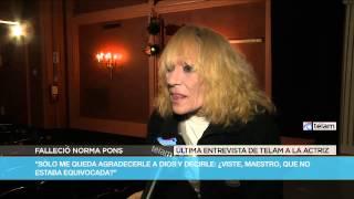 Norma Pons: último reportaje a Télam