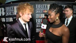 Ed Sheeran on the BRIT Awards 2013 red carpet with KISS FM (UK)