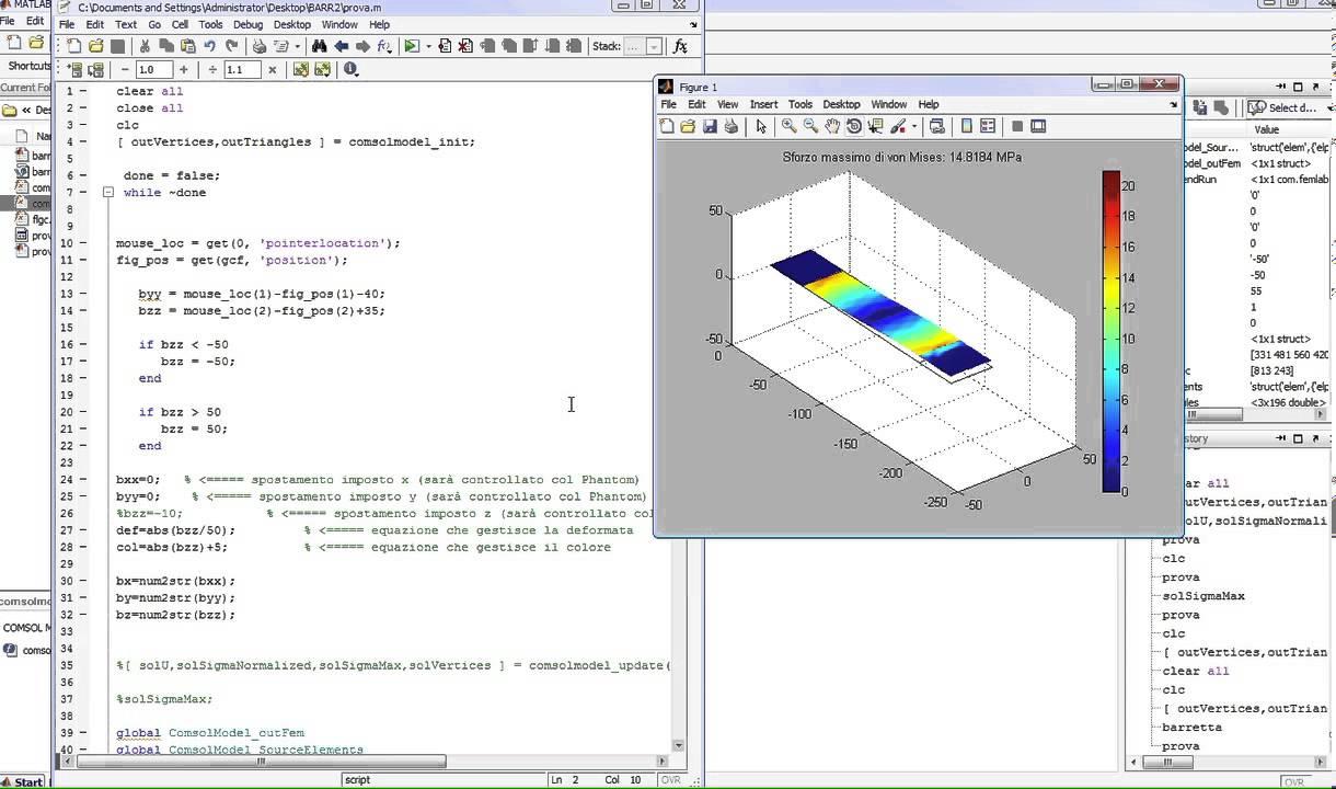 Simulazione FEM Real Time in Matlab