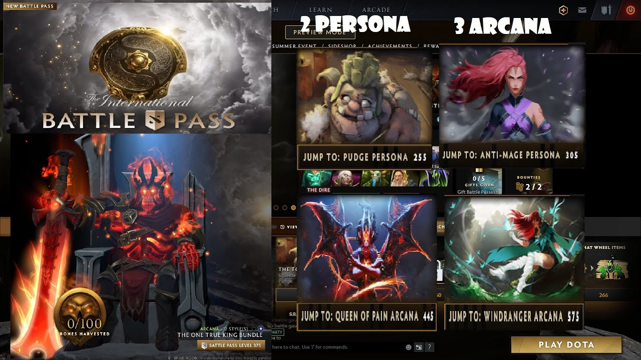 Dota 2 Battle Pass 2020 - Get 2 Persona + 3 Arcana at level 575 ...