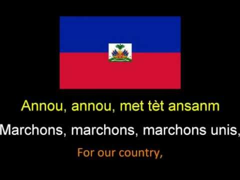 Haitian national anthem instrumental with lyrics, first vers