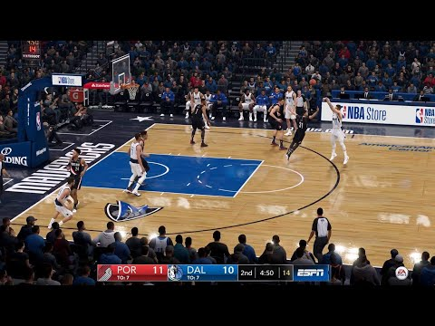 NBA LIVE 19 - Portland Trail Blazers vs Dallas Mavericks -  CPU SIM Full Game PS4 PRO - HD