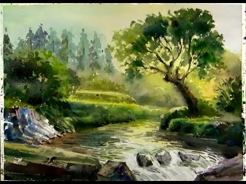 Watercolor Painting Sunshine On The Forest Stream Youtube