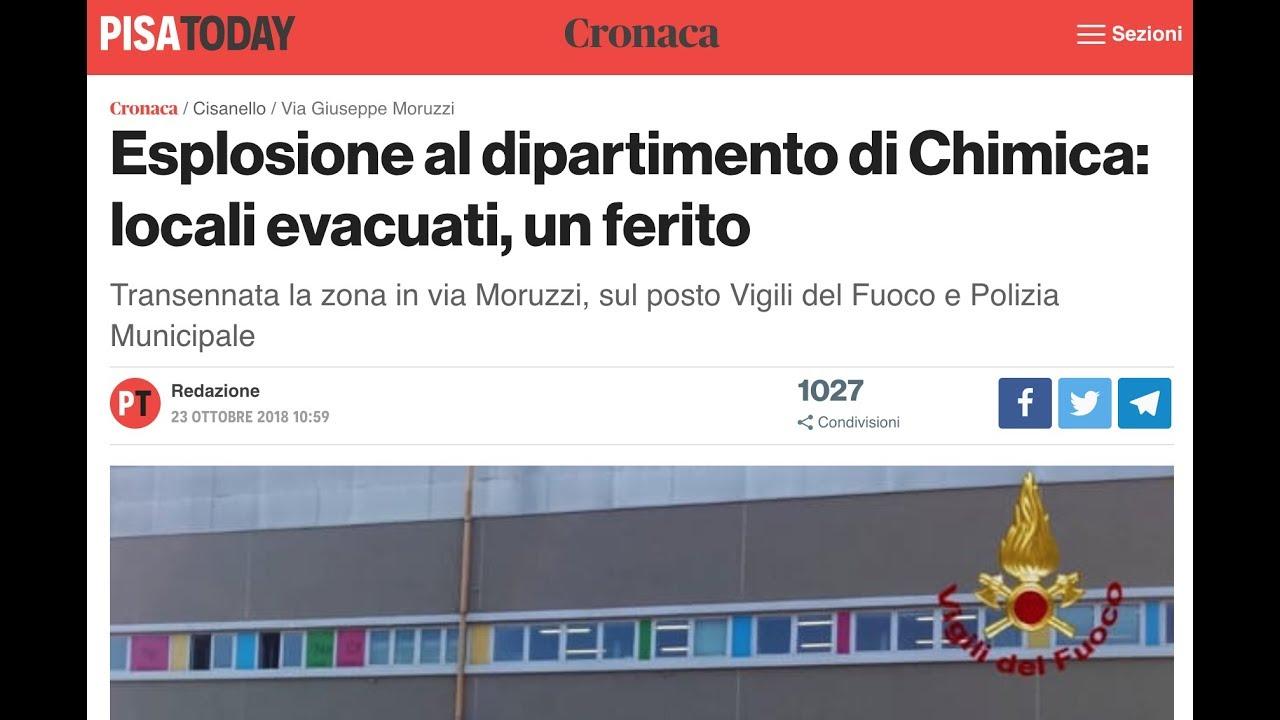 Esplosione laboratorio di chimica, Pisa - 23 ottobre 2018