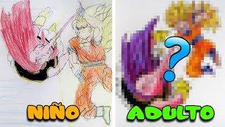 REHACIENDO DIBUJO DE MI INFANCIA | Goku SSJ3 vs Majin Buu | ...