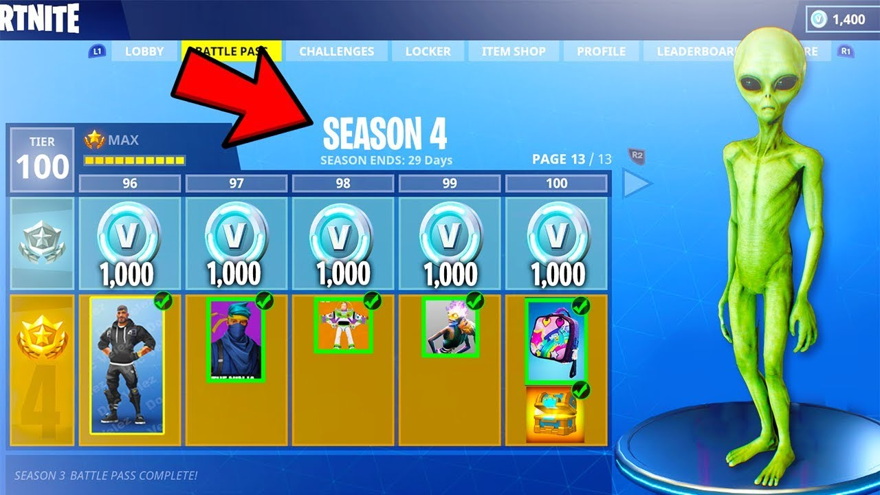 new fortnite season 4 information all skins items tier 100 showcase in fortnite battle royale - when does fortnite season 4 come out