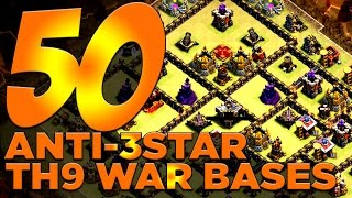 50 X ANTI-3 STAR TH9 War Bases For Your Clan Wars!! | Clash of Clans
