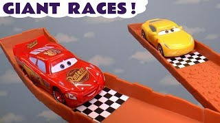 Cars McQueen Giant Race with Cruz and the Hot Wheels Superhero Cars TT4U