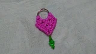 Macrame keyring/ keychain making at home with macrame