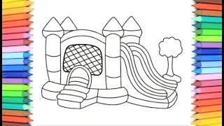 How To Draw A Balloon Palace for Kids 💙💜💖 Balloon Palace Drawing and Coloring Pages for Kids