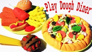 Play Dough Diner Cafe Doh Games Playdough Meal Hamburger Pizza Chicken Nuggets Fries Hot Dog Set