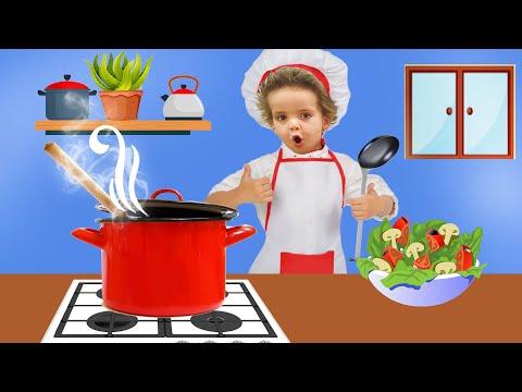 Pretend play with Kitchen for children. Детская КУХНЯ - Готовим ЕДУ. Игры для детей с игрушками.