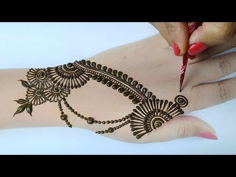 Shaded Arabic Mehndi Design - आसान स्टाइलिश मेहँदी डिज़ाइन लगाना सीखे - New Easy Mehndi Design