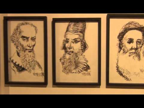 Artist Namboodiri's illustrations in Cochin Biennale 2014