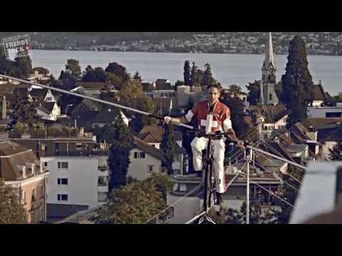 Tightrope - high wire - artist - Freddy Nock - achieved two new records on a bicycle