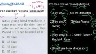 cho paper pattern | crpf nursing exam question paper | blood transfusion reaction | nursing officer