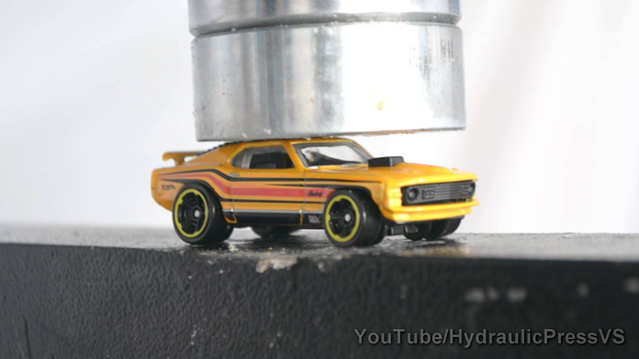 Ford Mustang Vs Hydraulic Press Hot Wheels Muscle Car Beat Down