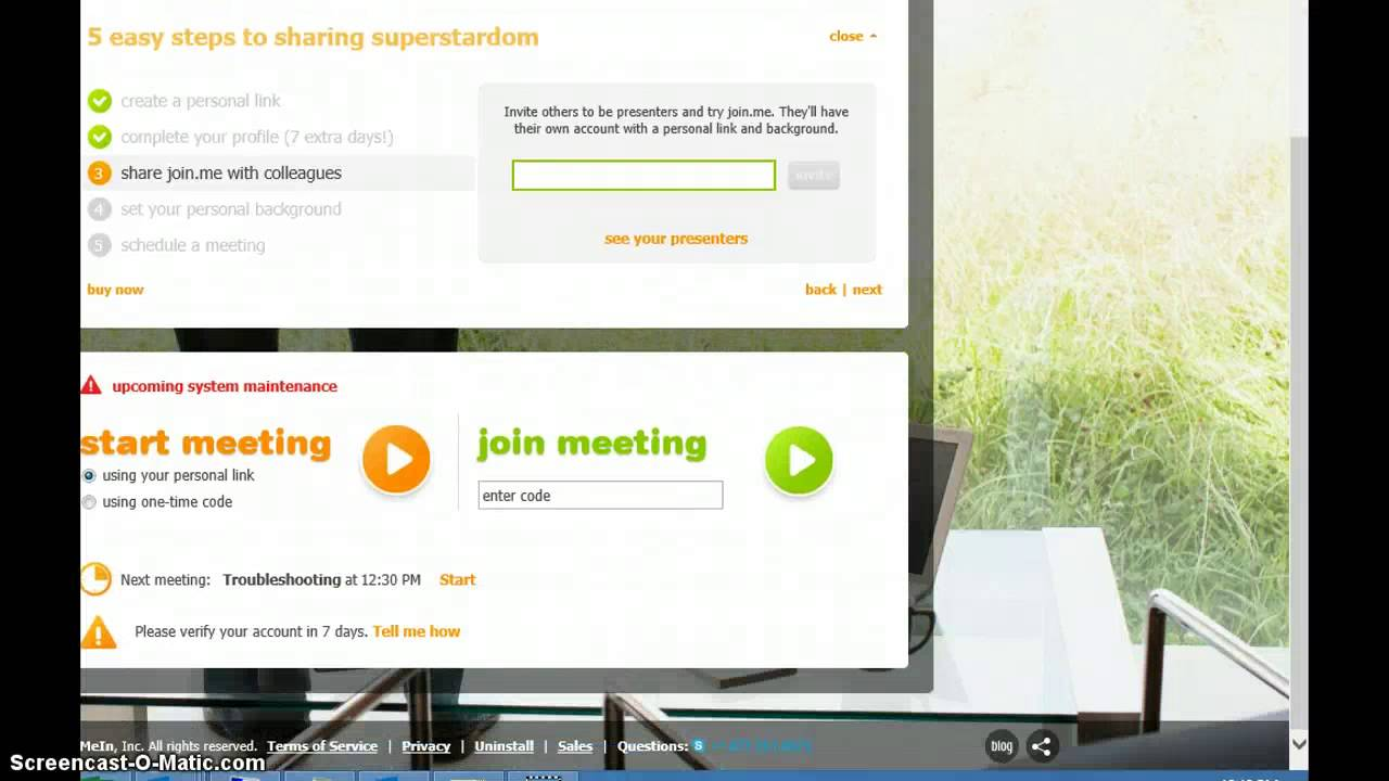 How to share screen using join.me - YouTube