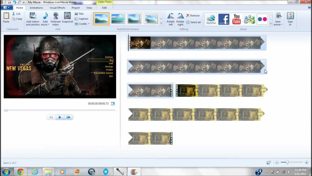 how to put 2 music on windows movie maker