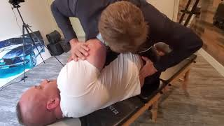 CANADIAN CHIROPRACTOR adjusts  *MASSIVE WORLD RECORD HOLDING POWERLIFTER*