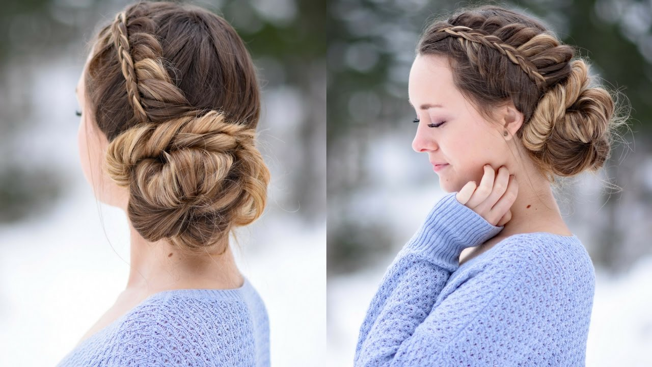 stacked fishtail updo prom hairstyle