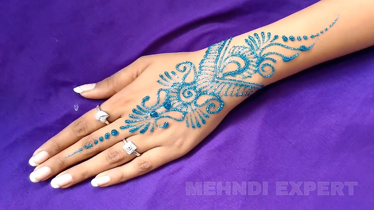 Colorful Henna Designs: New Easy And Quick Only Blue Color Glitter Mehndi Design