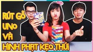 Rút gỗ Uno và hình phạt kẹo thúi | Game Uno Stacko and Bean Boozled Jelly Beans Punishment