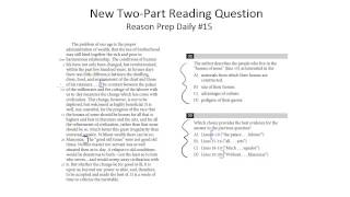 [New SAT] New Two Part Reading Questions - Reason Prep Daily #15
