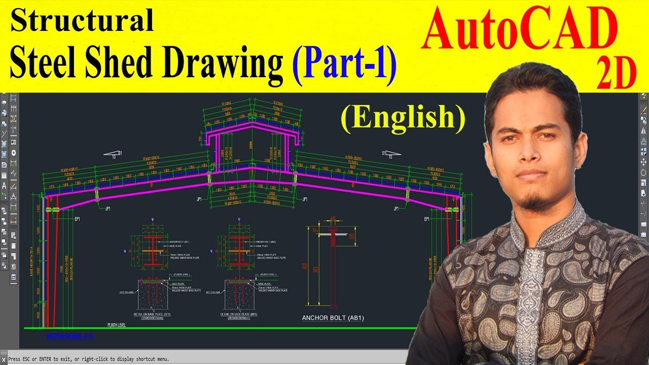 Structural Drawing Of Steel Shed Part 1 Youtube