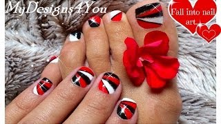 Geometric Nail Art For Short Nails | Red Nails |  Black and White Triangle ♥