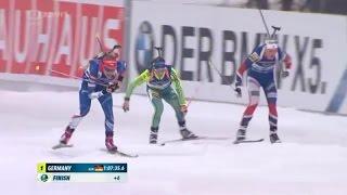 Biatlon Pchjongčchang Štafety žen na 4 x 6 km Battle in finish