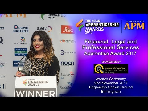 Finance Legal & Professional Services Apprentice Award - The Asian Apprenticeship Awards 2017