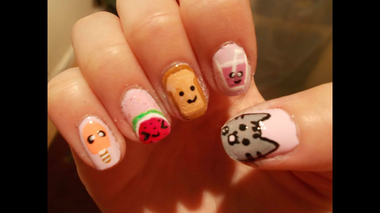 Cute Kawaii Nail Art - YouTube