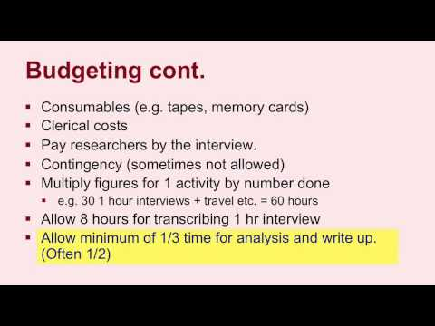 Budgeting for grant proposals