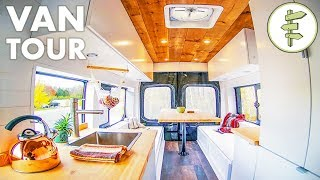 DIY Camper Van with Indoor Shower & 100% Solar (no propane) - Van Life Tour