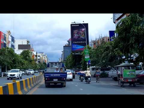 Travelling and Sightseeing in Phnom Penh Capital Along Monivong Blvd to the Northern City