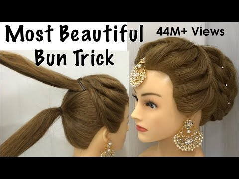 most-beautiful-hairstyle-for-wedding-or-party-|-easy-hairstyles-|-bun-hairstyle-with-trick