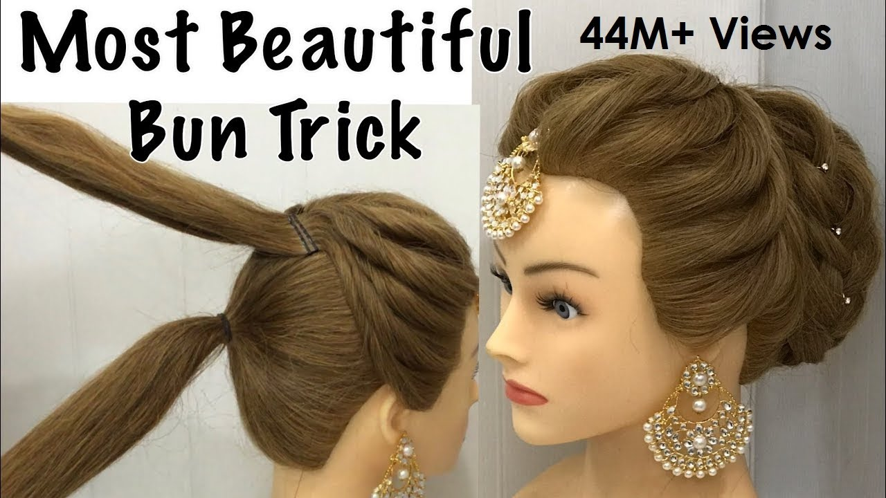 Most Beautiful Hairstyle For Wedding Or Party Easy Hairstyles Bun Hairstyle With Trick