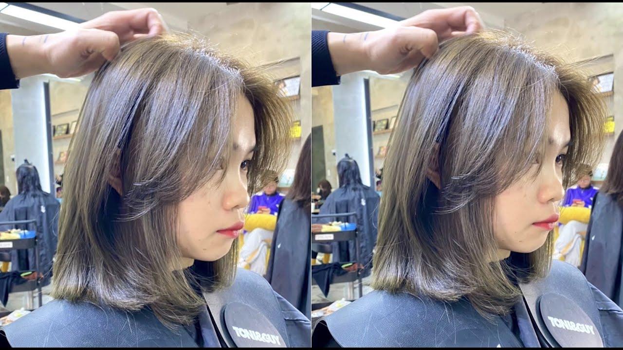 Layer Vuông  dành cho mặt tròn trán cao ! Hướng Dẫn cắt ! LinhBlack Hairsalon   Tổng quát những tài liệu về tóc layer nữ ngắn mặt tròn chuẩn nhất