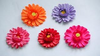 Easy paper flowers, Easy way of making paper gerbera flower/ Paper flowers by KovaiCraft