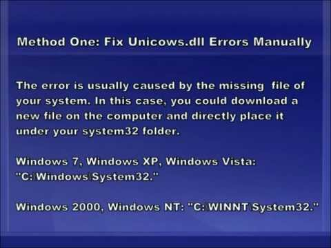 Unicows.dll Error Fix - Unicows.dll Missing Error