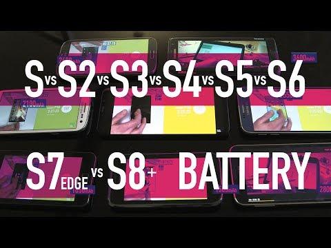 Samsung Galaxy S vs S2 vs S3 vs S4 vs S5 vs S6 vs S7 Edge vs S8+ / PART 2 - Battery Test