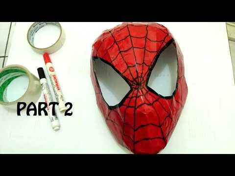 DIY Membuat Topeng Spiderman dari  Kertas Bekas - Part 2