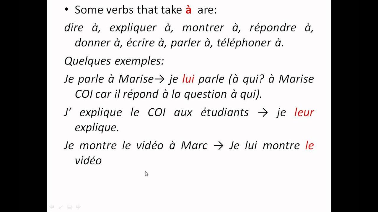 Pronoms D Objet Indirect Indirect Object Pronouns Coi Presentation Wmv
