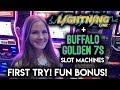 Enjoying The NEW Buffalo Golden 7s Slot Machine! BONUS!