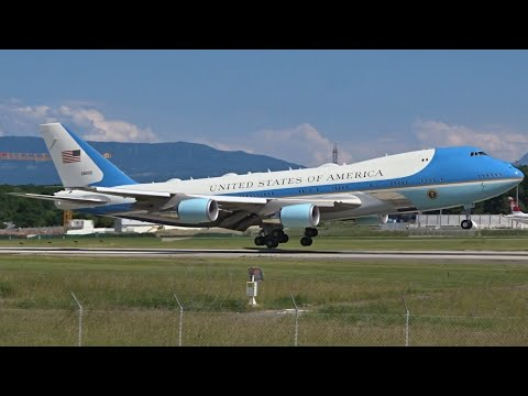 AIR FORCE ONE Boeing VC-25A & USAF C-32A landing at Geneva/GVA/LSGG