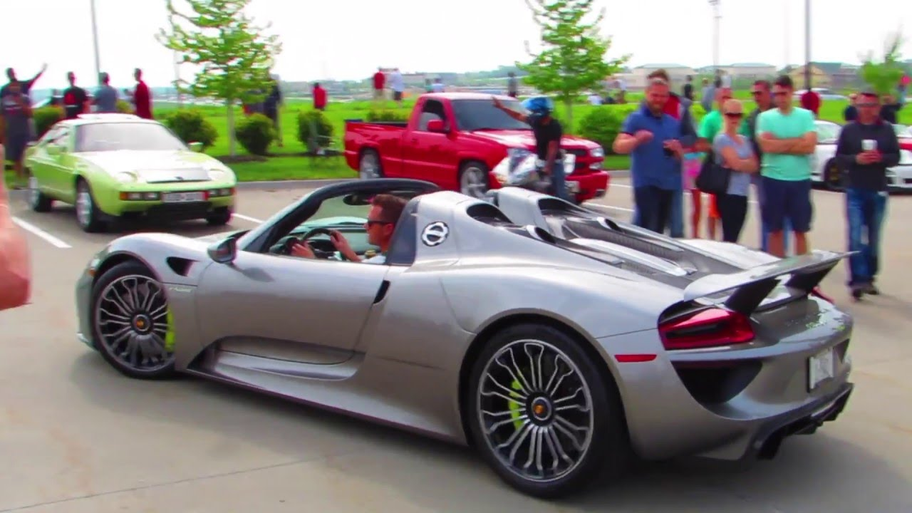 porsche 918 spyder departure from cars coffee omaha youtube. Black Bedroom Furniture Sets. Home Design Ideas