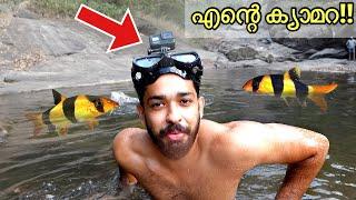 തലയിൽ ക്യാമറ വച്ചു വെള്ളച്ചാട്ടത്തിൽ മുങ്ങി!! | Underwater Fishes In Waterfall | Off-Roading