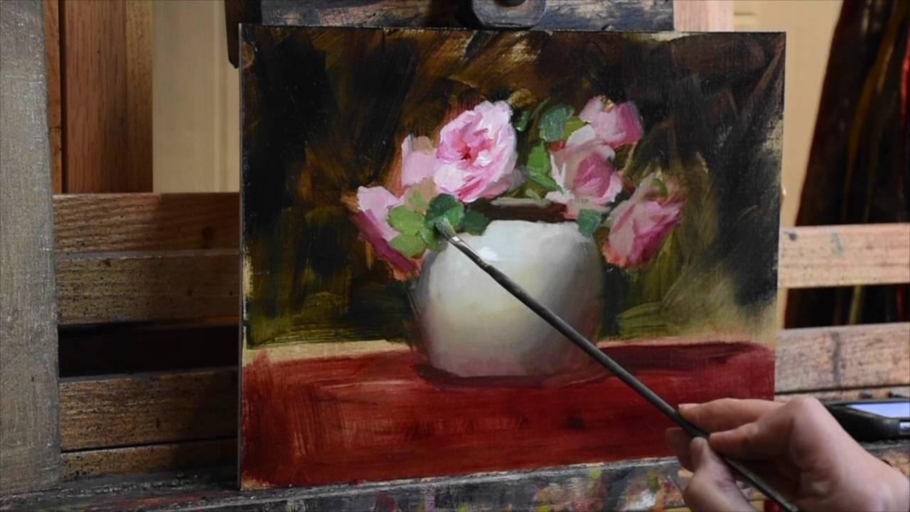 Pink Roses In Vase By Elizabeth Robbins Youtube